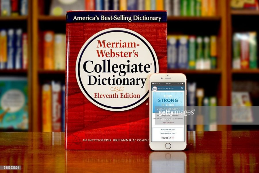 SPRINGFIELD%2C+MA+-+SEPTEMBER+23%3A+In+this+handout+image+provided+by+Merriam-Webster%2C+Merriam-Webster%27s+Collegiate+Dictionary+and+mobile+website+are+displayed+September+23%2C+2016+in+Springfield%2C+Massachusetts.++%28Photo+by+Joanne+K.+Watson%2FMerriam-Webster+via+Getty+Images%29