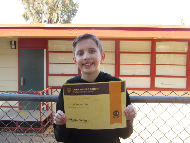 January student of the Month- Elliott Bartlett
