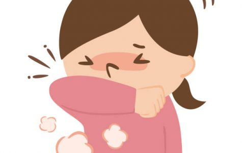 Illustration of a woman coughing with her arms to prevent splashing.