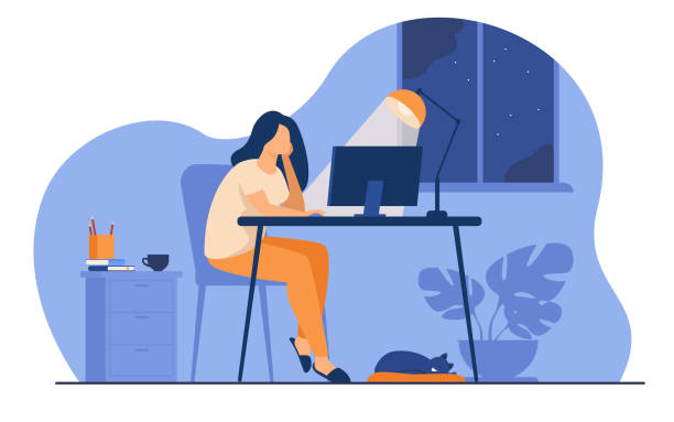 Woman working at night in home office isolated flat vector illustration. Cartoon female student learning via computer or designer late at work. Workplace and sleepless concept